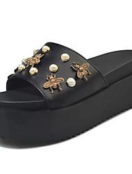 Women's Slippers & Flip-Flops Sandals Comfort PU Summer Casual Walking Comfort Beading Flat Heel White Black 3in-3 3/4in