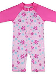 Children Kid Girls' Summer One-Piece Set Print Flower Pattern HotPink Swimwear Half Sleeve Swimsuit Benchwear for 38 Years