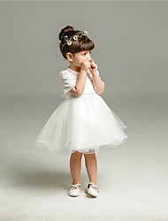 Ball Gown Short / Mini Flower Girl Dress - Organza Jewel with Bow(s) Lace Pearl Detailing Sash / Ribbon