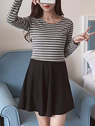 Women's Holiday A Line Dress,Solid Round Neck Above Knee Long Sleeve Polyester Summer Low Rise Micro-elastic Medium