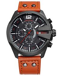 SKONE Мужской Модные часы электронные часы Китайский Кварцевый Кожа Группа Черный Оранжевый Коричневый