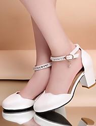 Feminino-Saltos-Sapatos clube Sapatos formaisBranco Azul Claro Rosa Claro-Couro Ecológico-Escritório & Trabalho Casual
