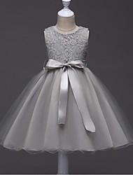 Vestido de baile vestido curto / mini florista - Organza colar de jóias sem mangas com fita por minuto