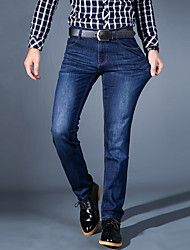Men's Mid Rise Micro-elastic Jeans PantsSimple Straight Slim Solid CY-1615