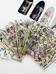 24pcs/set New Fashion 3D Colorful Nail Art Stickers Sweet Style Beautiful Design Glitter Charming Design Decoration For Manicure DIY Beauty Sticker