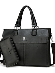 Men Bags All Seasons PU Bag Set with for Event/Party Casual Formal Office & Career Black Brown