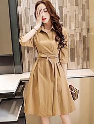 Women's Casual/Daily A Line Dress,Solid Shirt Collar Knee-length Long Sleeve Linen Summer High Rise Inelastic Medium