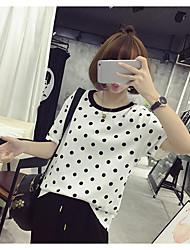 Damen Punkt Einfach Lässig/Alltäglich T-shirt,Rundhalsausschnitt Kurzarm Baumwolle