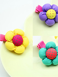 South Korean Edition Cotton Ball Child Hair Card Small Pumpkin Flower Bud Button Hairpin the Baby Cloth Art Headdress Mixed Hair 10pcs