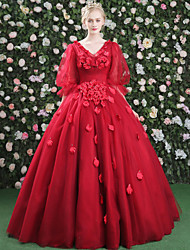 Formal Evening Dress - Floral Elegant Lace-up Ball Gown V-neck Floor-length Satin Tulle with Crystal Detailing Draping Flower(s) Bandage