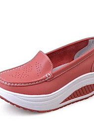 Feminino-Mocassins e Slip-Ons-ConfortoBranco Vermelho Azul-Couro Ecológico-Casual