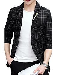 Men's Casual/Daily Work Simple Spring Fall BlazerPlaid V Neck Regular Cotton Polyester k479