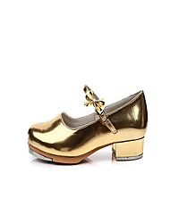 "Women's Tap Patent Leather Heels Indoor Bow(s) Low Heel Gold 1"" - 1 3/4"""