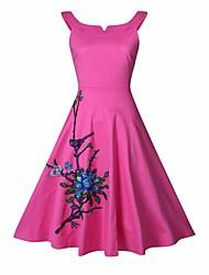 Для женщин Пляж Праздник На каждый день Винтаж Оболочка С летящей юбкой Платье Вышивка,Вырез лодочкой До колена Без рукавовХлопок