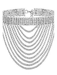 Mulheres Gargantilhas Gema Formato de Linha Chapeado Dourado Imitações de Diamante Moda Dourado Prata Jóias ParaFesta Ocasião Especial