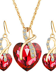 2017 Fashion Luxurious Love Crystal Heart Jewelry Sets For Women Necklace Earrings Jewelery Set Bridal Wedding Accessories