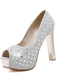 Women's Spring Summer Fall Glitter Wedding Casual Party & Evening Stiletto Heel Crystal Heel Crystal Sequin Sparkling Glitter Silver