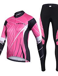 Realtoo Calça com Camisa para Ciclismo Mulheres Manga Longa Moto Conjuntos de Roupas Secagem Rápida Resistente Raios Ultravioleta Zíper