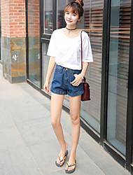 Femme simple Taille Haute Jeans Short Pantalon,Ample Couleur Pleine