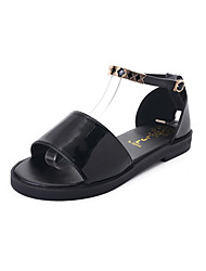Women's Sandals Gladiator PU Spring Summer Casual Dress Gladiator Buckle Flat Heel White Black Flat
