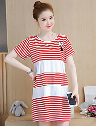 Maternity Summer Wear Fashionable Sweet Stripes Easy Leisure Pregnant With Short Sleeves Women Dress
