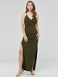 Women's Backless Solid Deep V Party / Club Sexy Green High Rise Thigh Split Sheath Dress