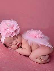 Newborn Baby's Feather Handmake Flowers  Modelling of the Angel Pink Photographic Cloths