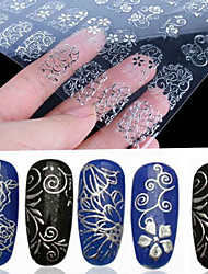 108 Pcs 3D Silver Flower Nail Art Stickers Decals Stamping Hollow Sticker DIY Decoration Tools