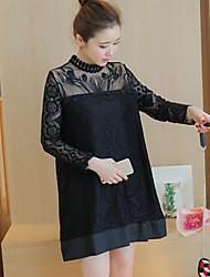 Maternity Summer Wear Fashionable Sweet Fashion  Sexy Printed Lace Collar Long Sleeves  Leisure Pregnant Women Dress