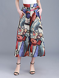 Feminino Simples Cintura Alta Chinos Calças,Perna larga Estampado,Chifon