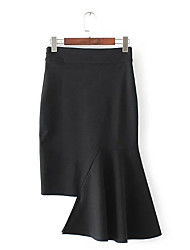 Women's High Rise Asymmetrical Skirts,Sexy Cute Trumpet/Mermaid Solid