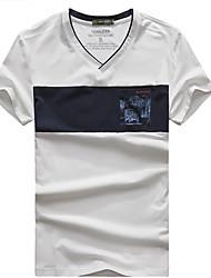 Homme Tee-shirt Pêche Respirable Eté Blanc Bleu Bourgogne
