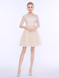 Short / Mini Lace Tulle Bridesmaid Dress - Sheath / Column Scoop with Bow(s)