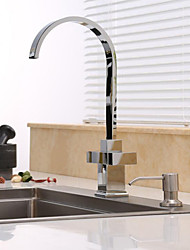 Contemporary Art Deco/Retro Modern Tall/High Arc Standard Spout Vessel Widespread with  Ceramic Valve Two Handles One Hole for  Chrome Kitchen Faucet