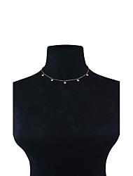 Mujer Gargantillas Obsidiana Gota Perla Artificial Cobre Diseño Básico Borla Moda Adorable Personalizado Euramerican Estilo SimpleDorado
