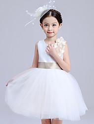 De Baile Curto/Mini Vestido para Meninas das Flores - Algodão Cetim Tule Decorado com Bijuteria com Laço(s) Flor(es) Faixa / Fita