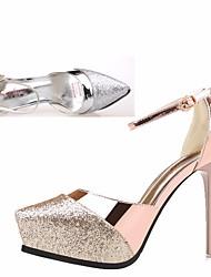 Damen-High Heels-Lässig-PUClub-Schuhe-Gold Silber