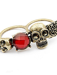 Han Edition Style Double Row Skull Ring