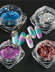 4Bottle/set New Fashion Elegant Style Nail Art DIY Beauty Glitter Thin Slice Laser Stripe Rhombus Design Dazzling Paillette Decoration LW3and5and6and7