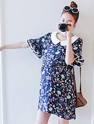 Maternity Summer Wear Fashionable Sweet Fashion  Double lotus leaf sleeve small broken flower the doll  Leisure Pregnant Women Dress