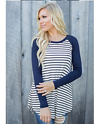 Women's Casual/Daily Simple Fall Shirt,Striped Round Neck Long Sleeve Cotton Medium