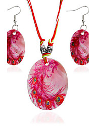 MPL New geometry shell paint Pendant Necklace Earrings Set