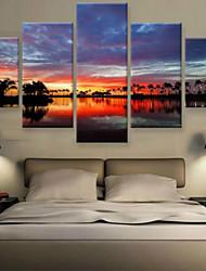 Impression d'Art Paysage Moderne,Cinq Panneaux Format Horizontal Imprimé Décoration murale For Décoration d'intérieur