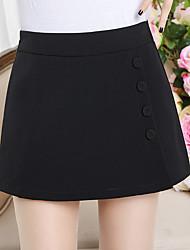 Femme simple Taille Haute Micro-élastique Short Pantalon,Ample Couleur unie Perlé Effets superposés Couleur Pleine
