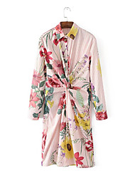 Damen Lose Etuikleid Kleid-Ausgehen Lässig/Alltäglich Einfach Street Schick Gestreift Druck Hemdkragen Midi Langarm Seide BaumwolleSommer