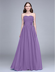 LAN TING BRIDE Floor-length Chiffon Bridesmaid Dress - Sheath / Column Strapless with Flower(s) / Criss Cross