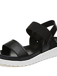Women's Sandals Summer Comfort PU Casual Low Heel Gore Silver Black White
