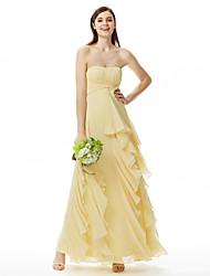 LAN TING BRIDE Floor-length Strapless Sweetheart Bridesmaid Dress Sleeveless Chiffon