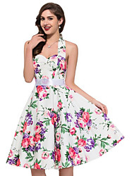 Women's Casual/Daily Beach Holiday Cute A Line Dress,Floral Halter Knee-length Sleeveless Cotton Polyester Summer High Rise Inelastic Thin