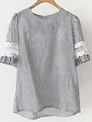 Damen Gestreift Einfach Ausgehen T-shirt,Rundhalsausschnitt Kurzarm Polyester